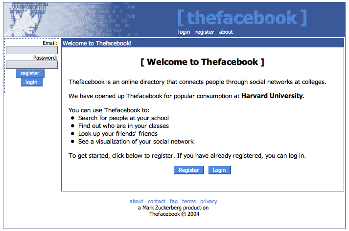 Facebook's first home page MVP