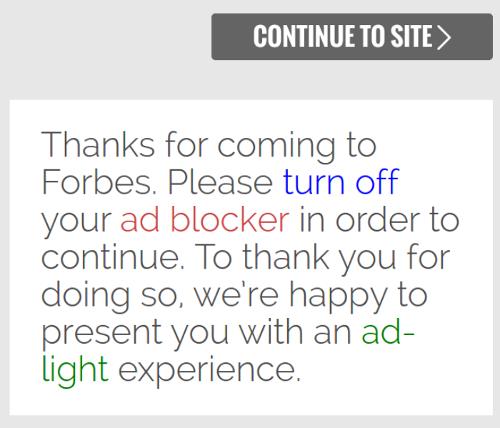 Forbes access denial ad blocker