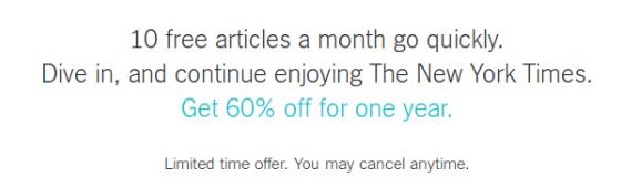 New York Times ad blocker subscription
