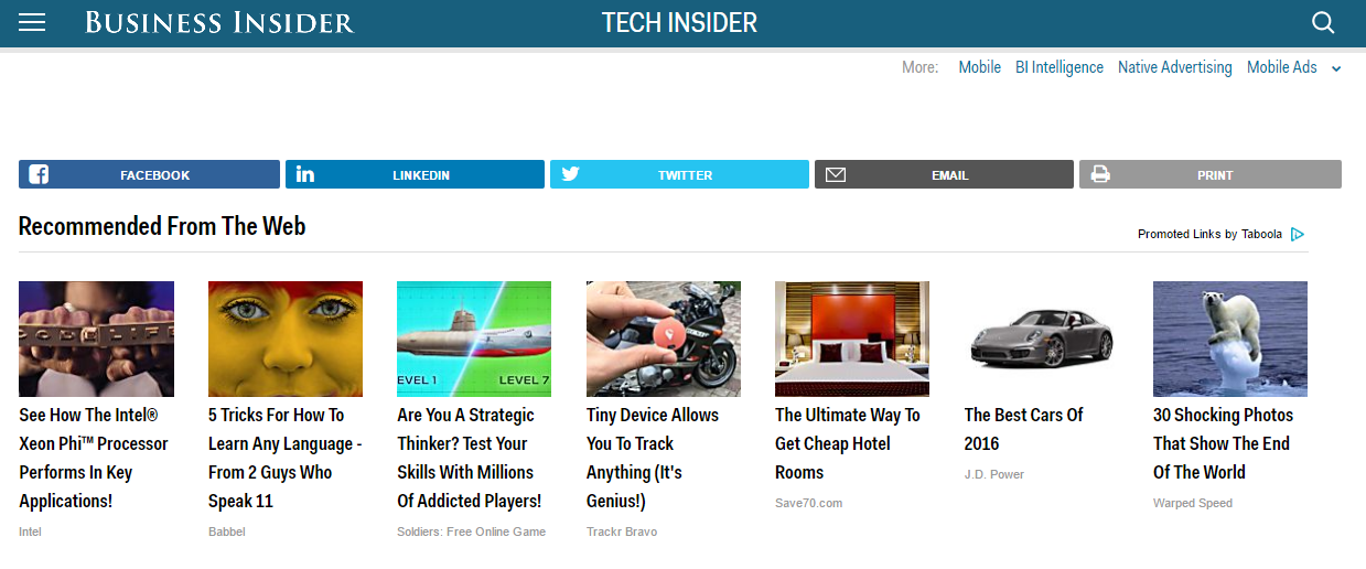 An example of native ads: Recommended Content on Business Insider's site.