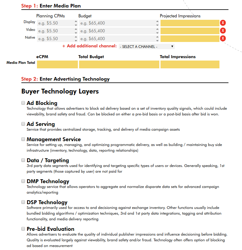 Transparency in Ad Tech IAB programmatic fee transparency calculator