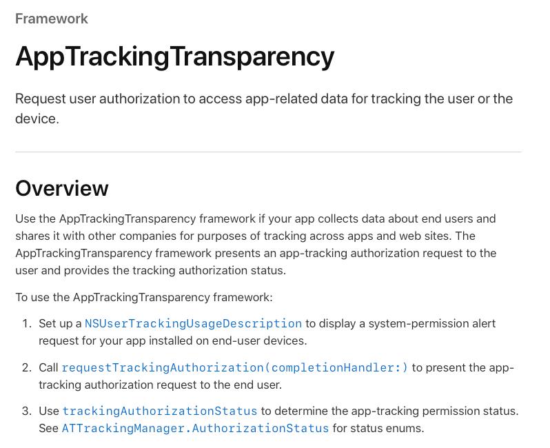 AppTrackingTransparency framework